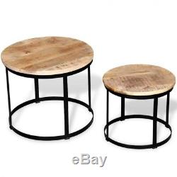 Small Metal Side Table Vintage Wood Round Coffee Tables