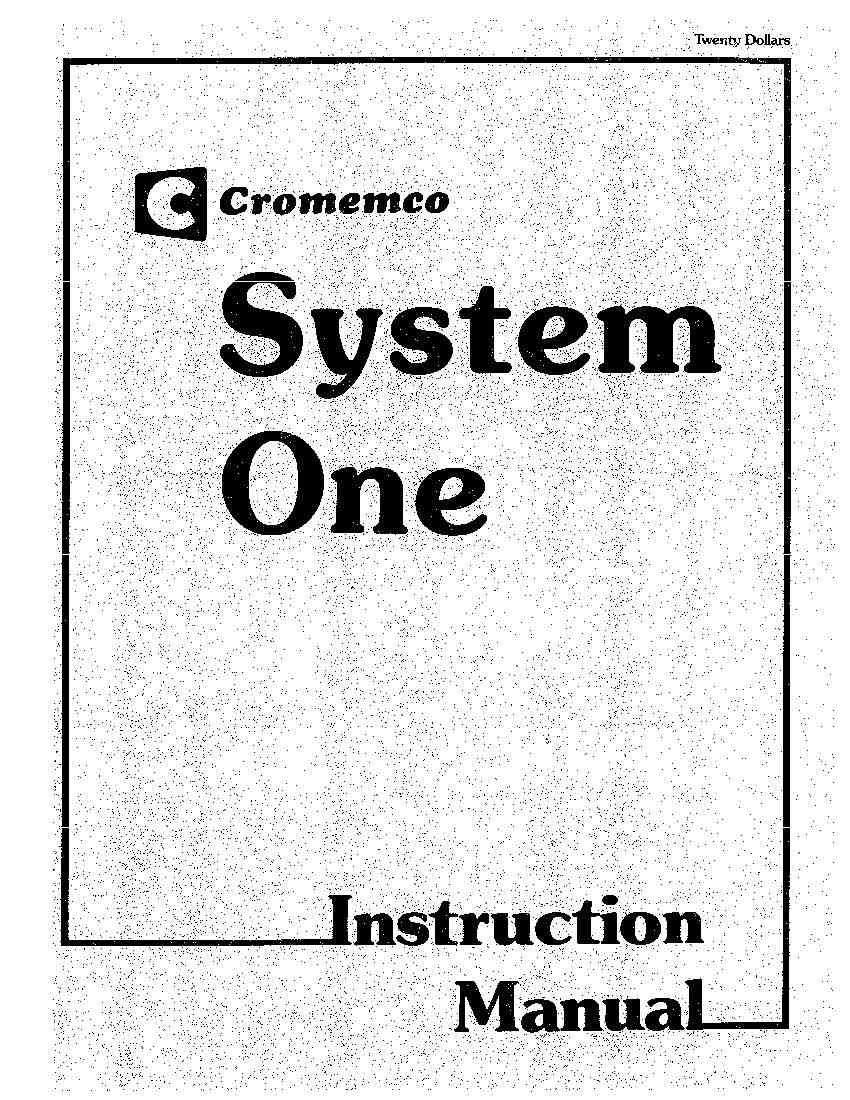 Cromemco System One Instruction Manual