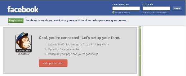Mailchimp y facebook