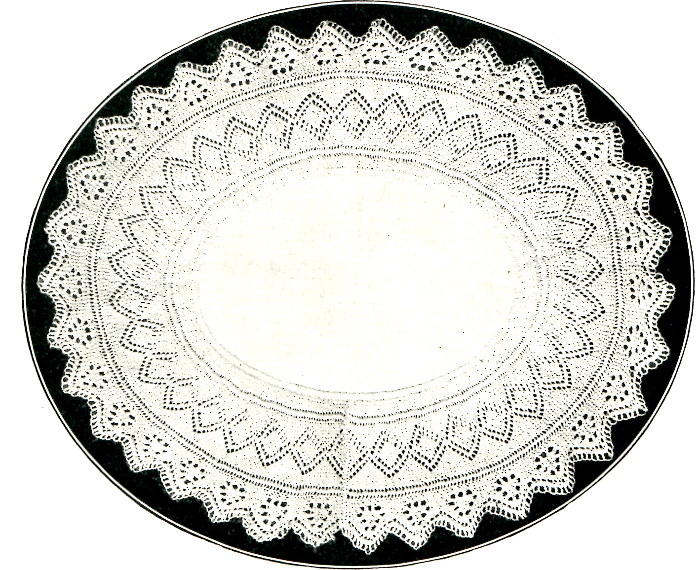 A Knitted Gift for Mother's Day an Oval Doily with a