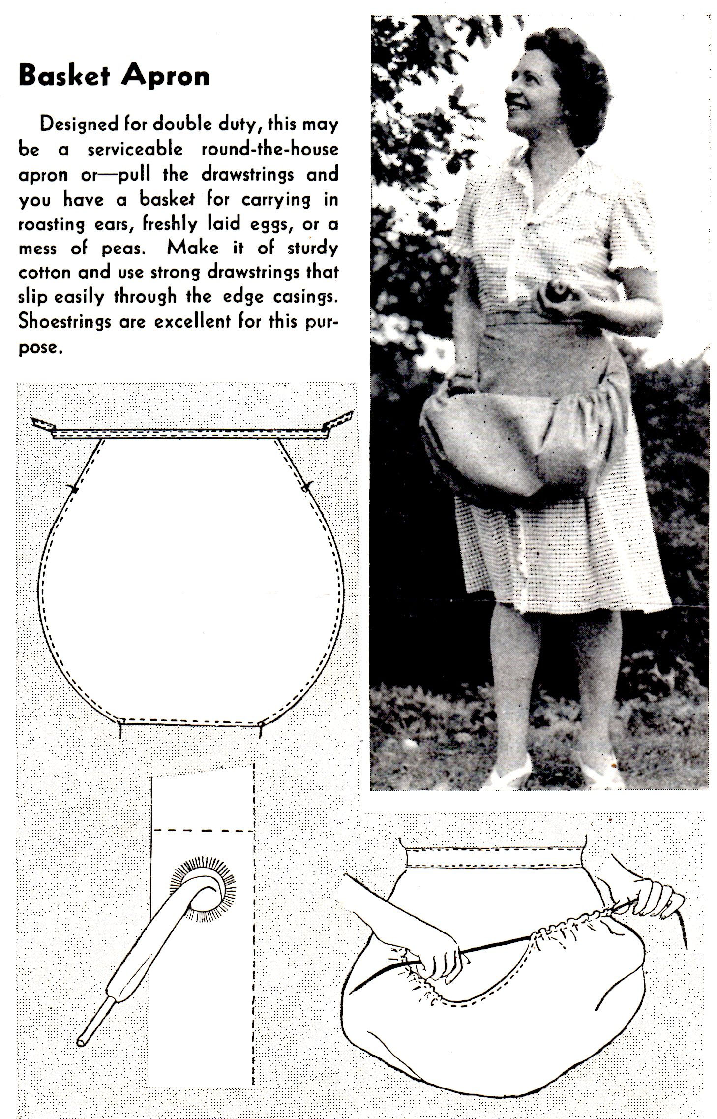 Free Basket Apron Pattern to Sew for use in your Home and