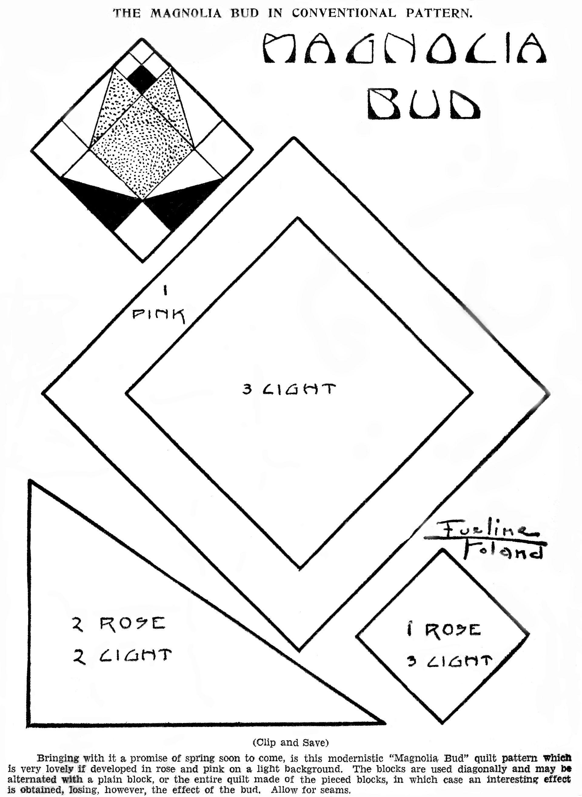 1930s Magnolia Bud Kansas City Star Quilt Pattern