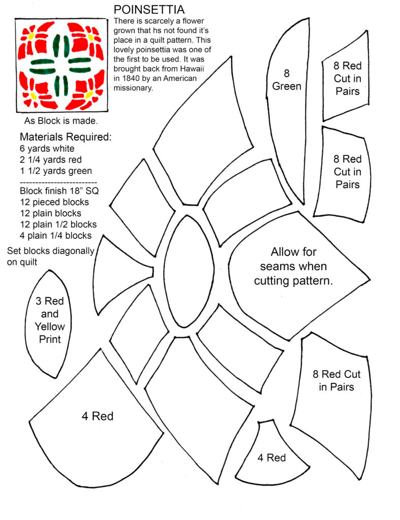 Poinsettia Applique Quilt Pattern by Designer Nancy Cabot
