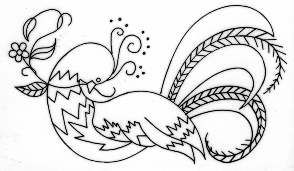 Crewel Embroidered Bird of Paradise Free Pattern with
