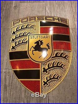 Original PORSCHE Enamel Sign Porcelain Service Shield Advertising Vintage 2007  Vintage Enamel