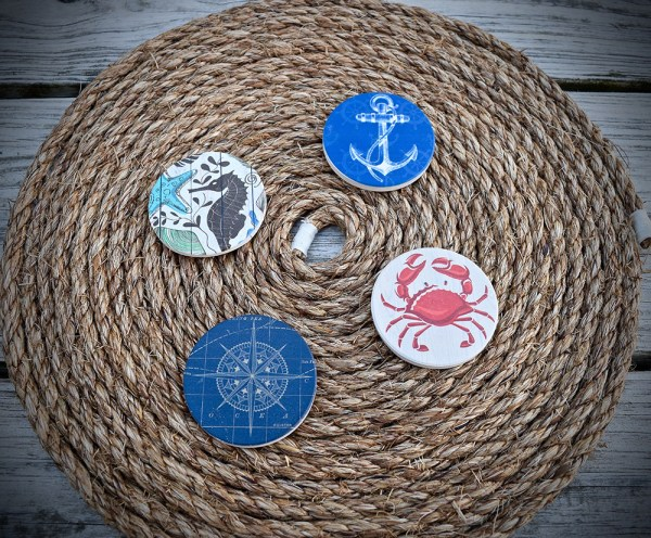 Nautical Ceramic Car Coasters