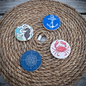 Nautical Ceramic Car Coasters