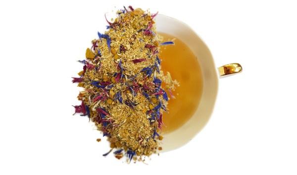 herbal ginger turmeric tea leaves of a brewed cup of tea