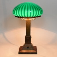Arts and Crafts Copper Base, Zebra Shade Table Lamp