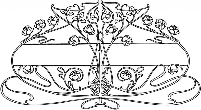 Art Nouveau Floral Design Element
