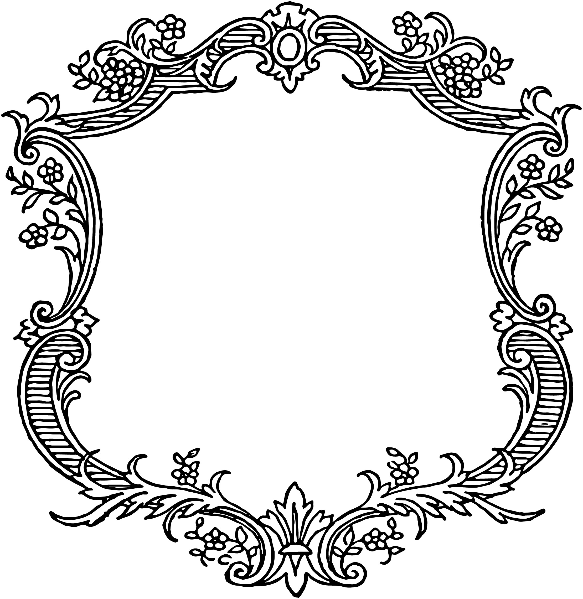 Flower Frame Line Drawing : Free vintage floral scroll border frame oh so nifty