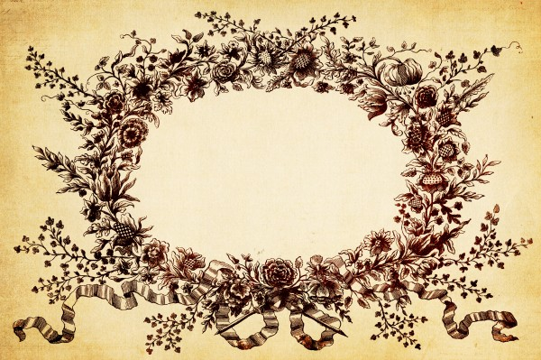 Vintage Floral Wreath Border Background Texture