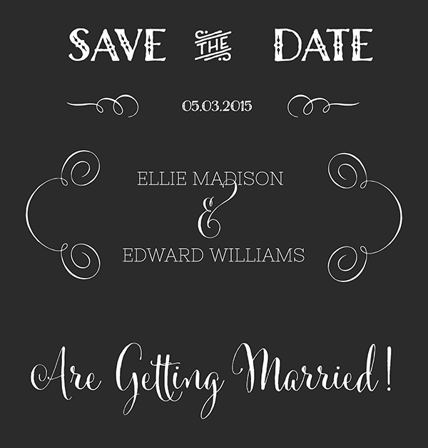 Save the date calligraphy in chalk board style oh so nifty vintage graphics for Save the date vector