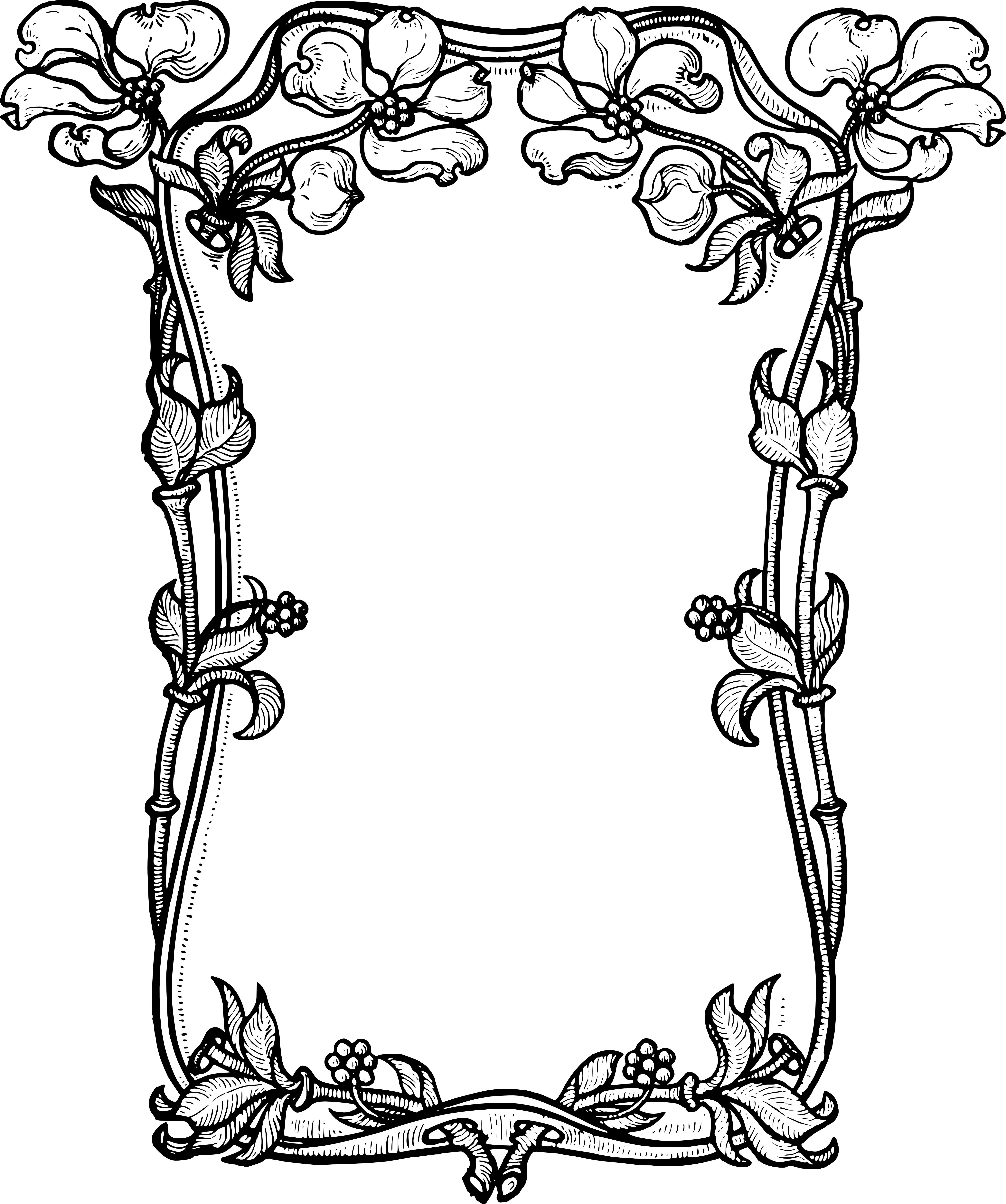 Flower Frame Line Drawing : Stock images dogwood flower frame clip art vector oh