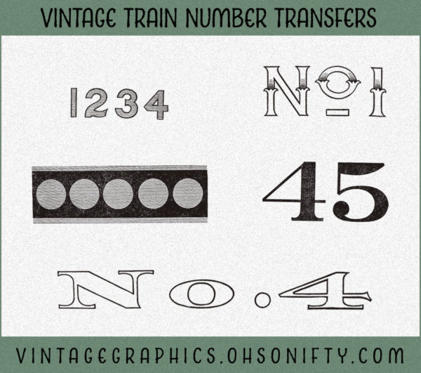 Royalty Free Clip Art - Vintage Train Number Transfers