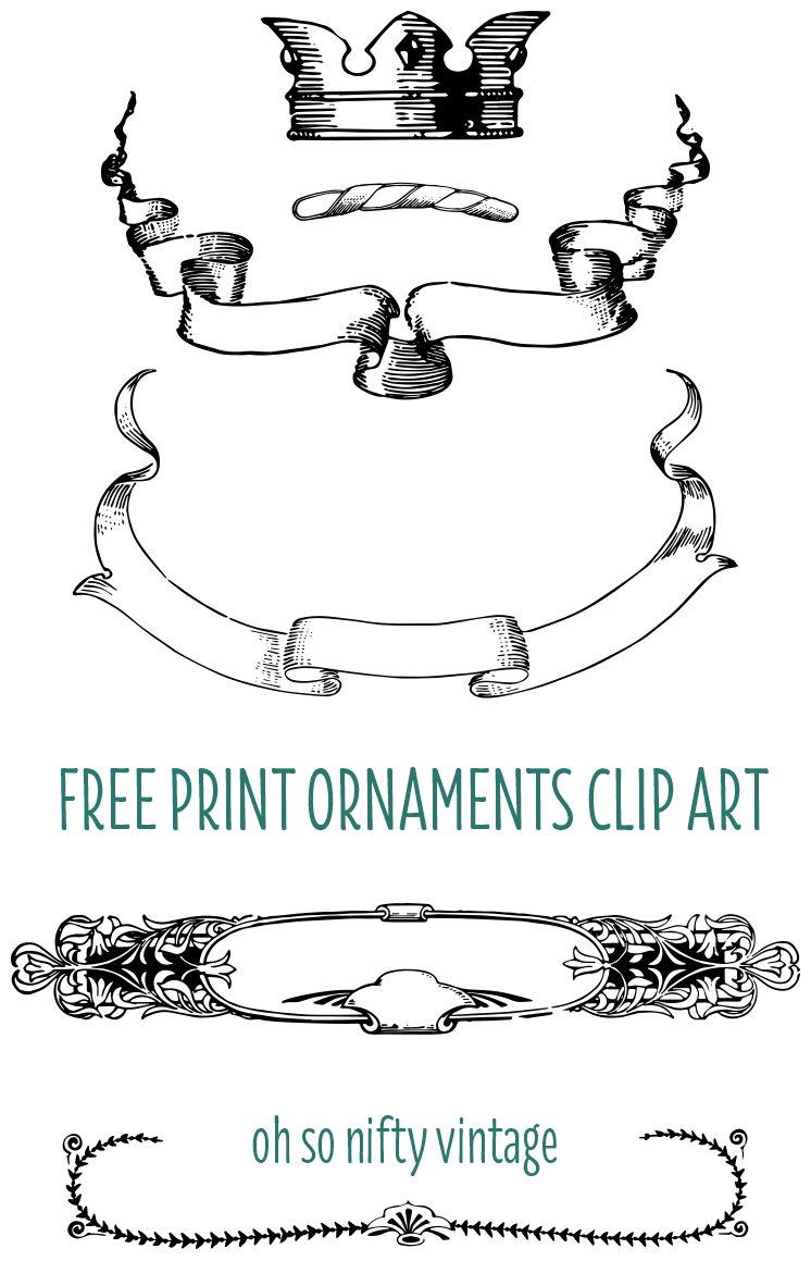 Vintage Clip Art - Print Ornaments with Crown, Ribbons and Borders