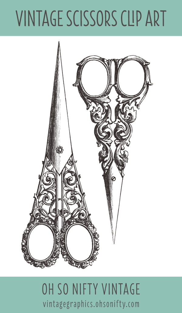 Royalty Free Clip Art - Vintage Sewing Scissors