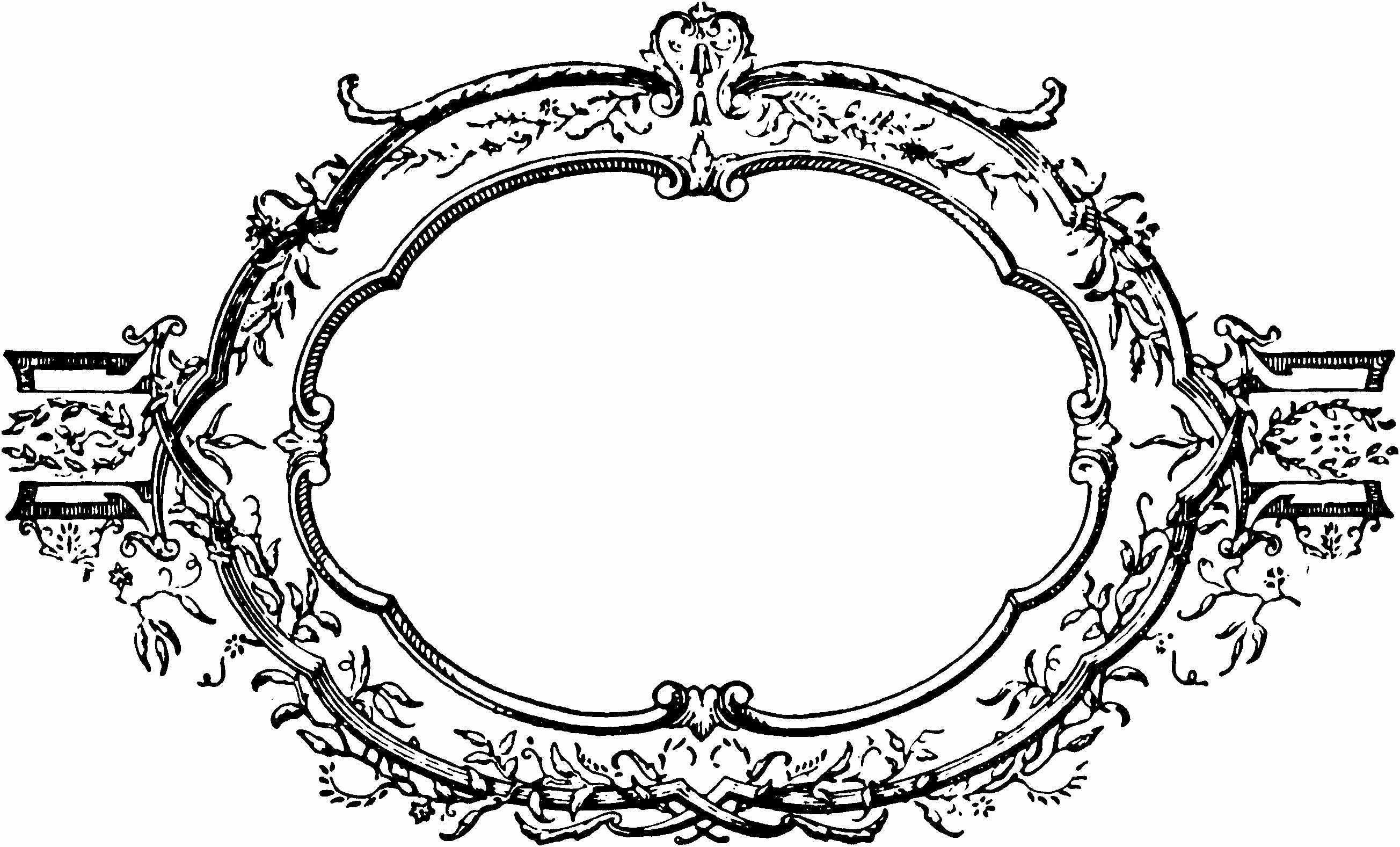Vintage Decorative Frame & Laurel Wreath Clip Art