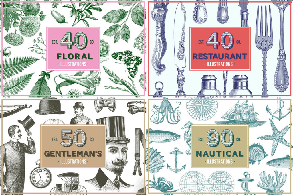 Vintage Illustrations Bundle