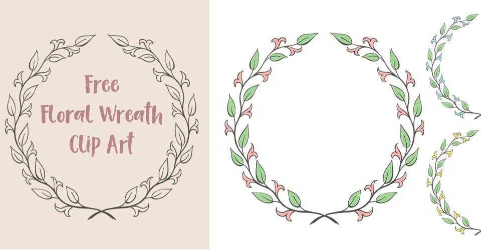 Free Floral Laurel Wreath Clip Art