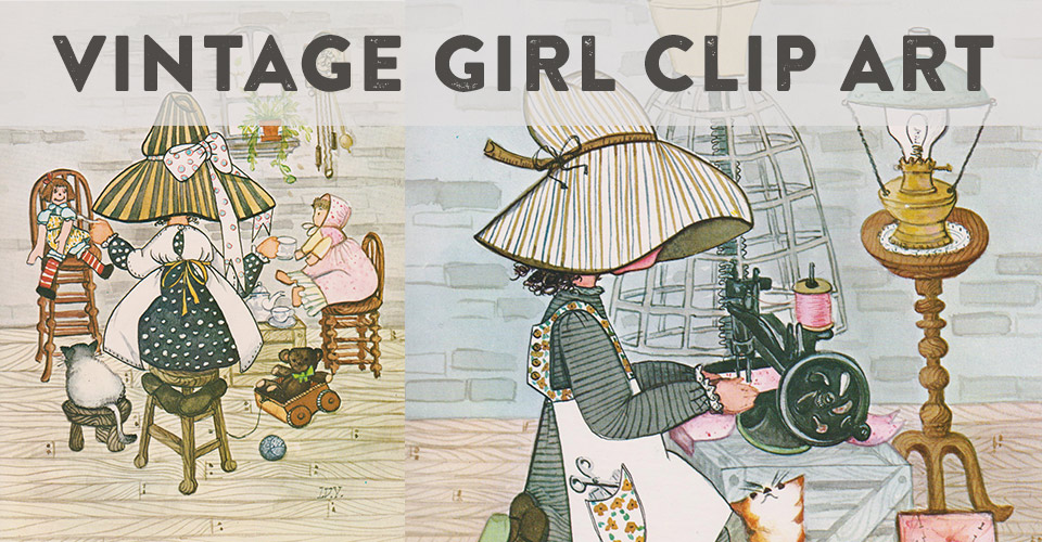 Cute Vintage Girl Clip Art