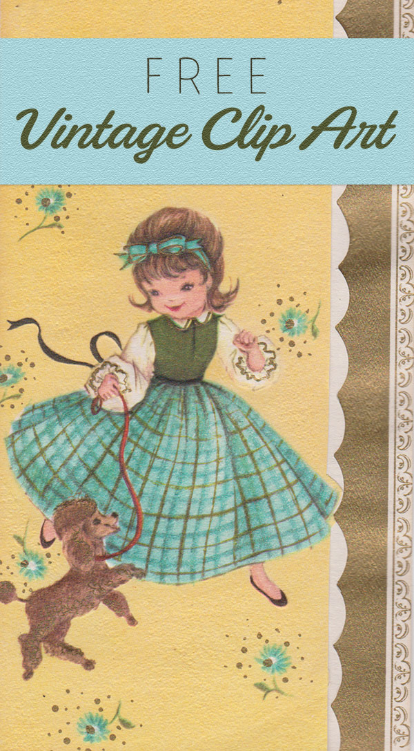 Free Vintage Clip Art - Girl with Poodle