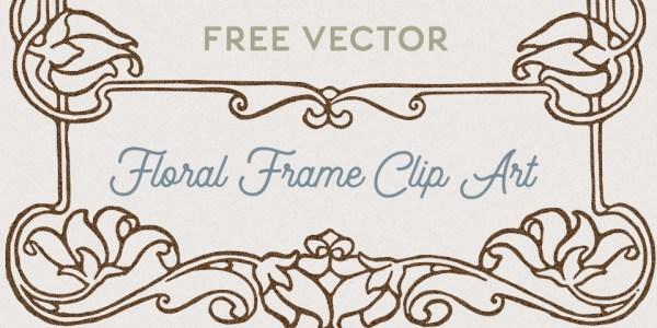 Vintage Floral Frame Vector Clip Art