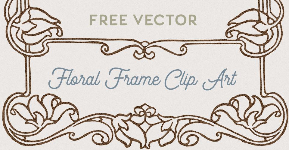 Vintage Floral Frame Border Vector Clip Art