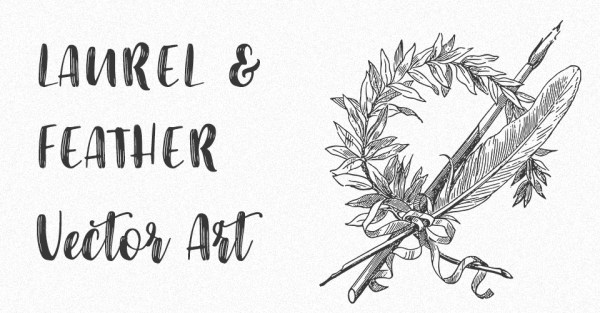 Laurel Wreath with Feather Vector Art