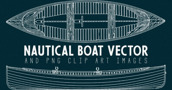Nautical Boat Drafting Outline Vector