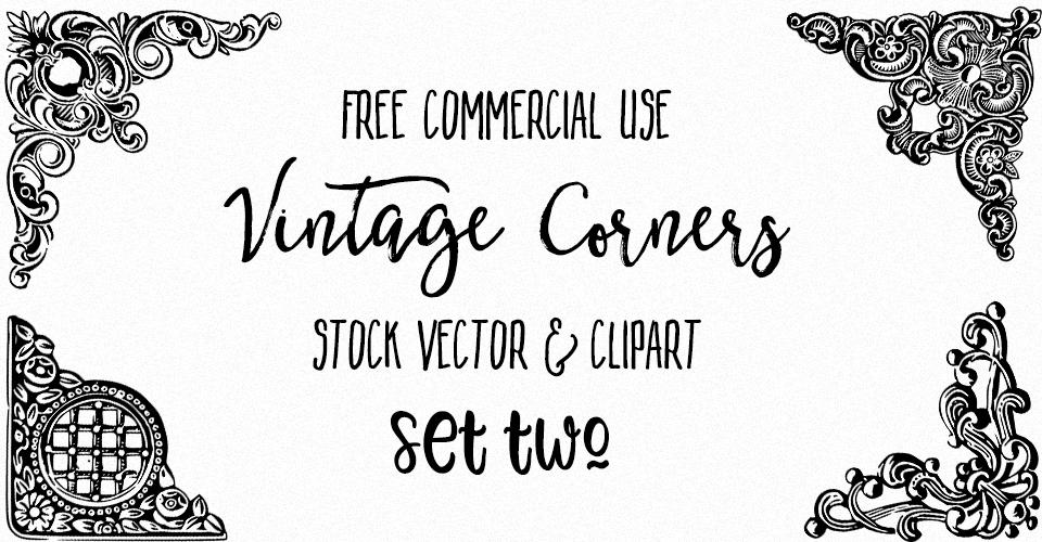 Ornate Vintage Corners Vector & Images Set 2
