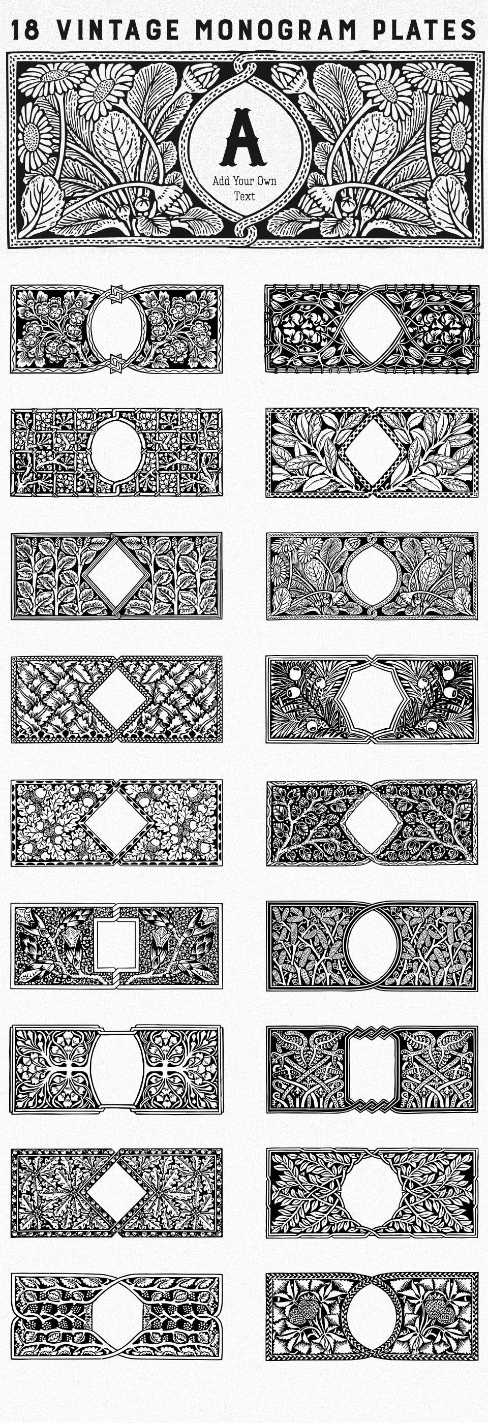 18 Free Vintage Monogram Plates