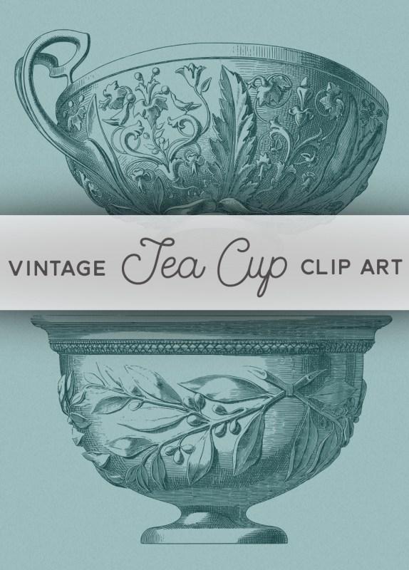 Vintage Tea Cup Stock Image Clip Art