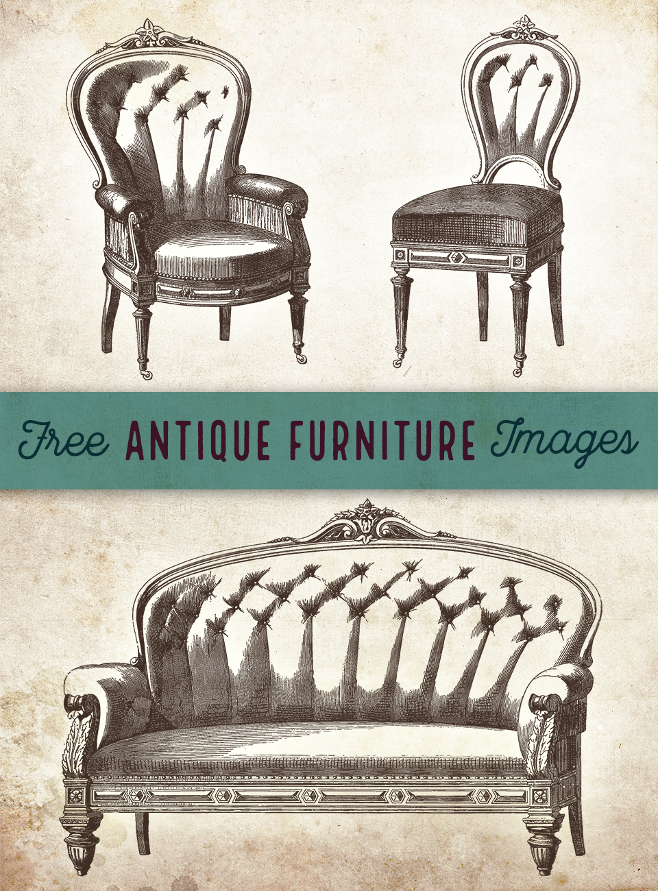 Exquisite Antique Chairs and Couch Clip Art