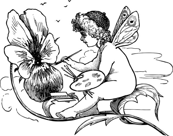 Adorable Flower Fairy Vector Clip Art