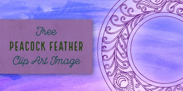 Peacock Feather Circle Frame Vector Clip Art