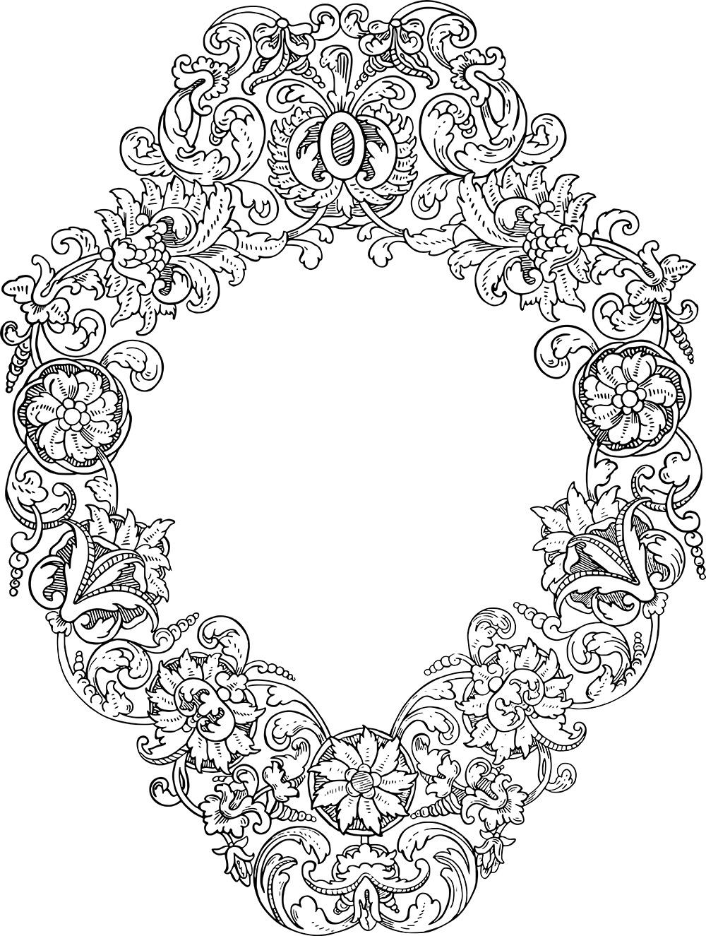 Ornate Stock Vector | Diamond Floral Wreath