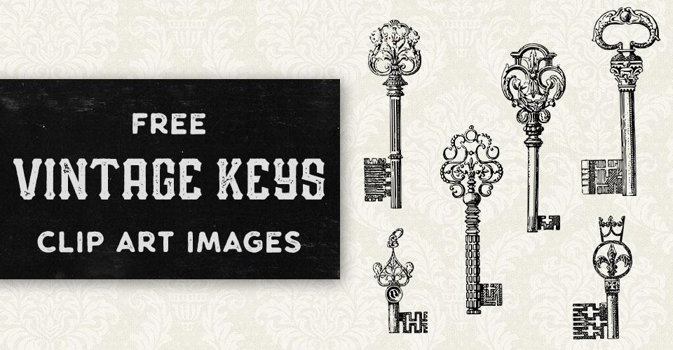 Unique Vintage Keys Vector Clip Art