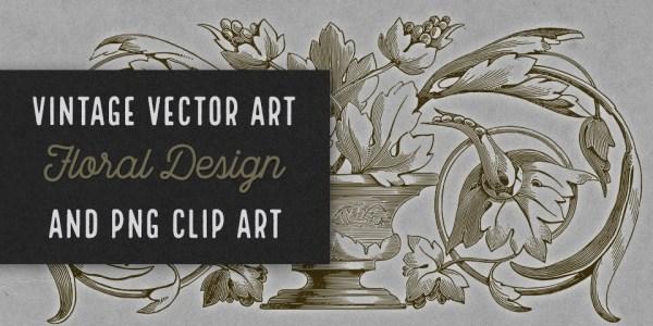 Vintage Floral Design Vector Clip Art