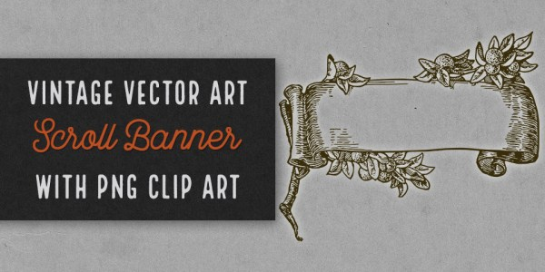 Beautiful Vintage Scroll Banner with Orange Branch