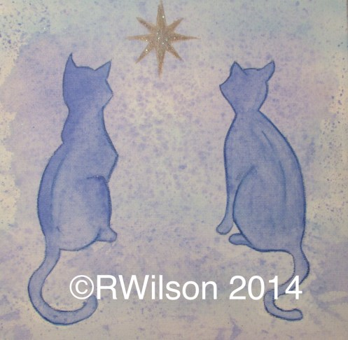 Star Gazing Cats (mixed media on box canvas)