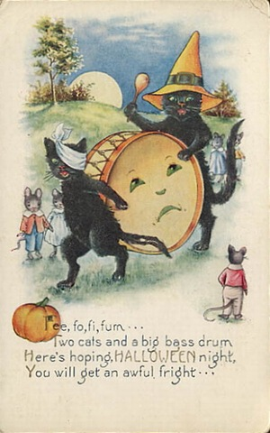 Free Vintage Halloween Black Cats Cards Vintage Holiday