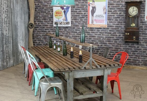 retro dining table chairs uk rocking chair for two industrial restaurant large vintage