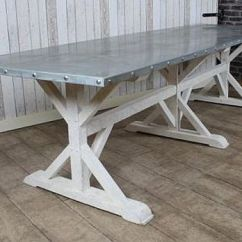 Zinc Kitchen Table Concrete Countertops Top Dining A Very Large Metal Topped With Pine Base