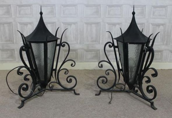 metal bucket chairs banqueting chair covers for sale uk wrought iron lanterns, a pair of ornate outdoor lights, perfect