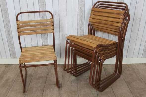 over chair tables uk swing youtube stacking retro chairs with slatted seats, original tubular frame