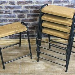 Outdoor Metal Chair Extra Large Adirondack Chairs Vintage Stacking Stools, Original Retro Seating From 1950s, Ideal For