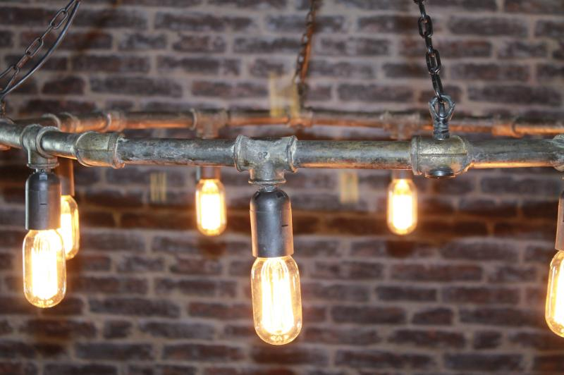 GAS PIPE CHANDELIER INDUSTRIAL STYLED LIGHT FITTING MADE