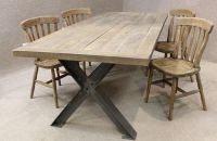 METAL BASE TABLE, A STURDY INDUSTRIAL STYLE TABLE WITH AN