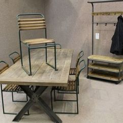 Folding Table And Chairs White Revolving Cuddle Chair Metal Base Table, A Sturdy Industrial Style With An Oak Top